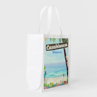 Casablanca Morocco, romantic vintage poster Reusable Grocery Bag