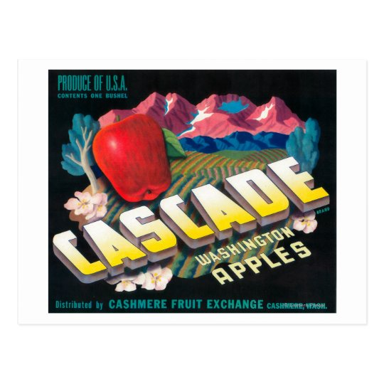 Cascade Apple Label (blue) - Cashmere, WA Postcard