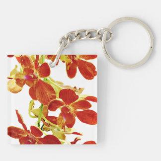Cascade of Orange Orchids Key Ring