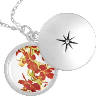 Cascade of Orange Orchids Silver Plated Necklace