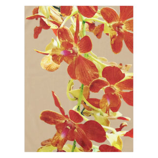 Cascade of Orange Orchids Tablecloth
