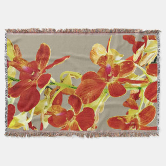 Cascade of Orange Orchids Throw Blanket