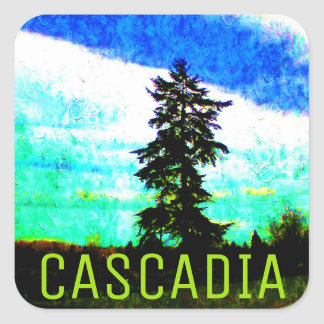 Cascadia PNW Nature Lovers: Douglas Fir Tree Square Sticker