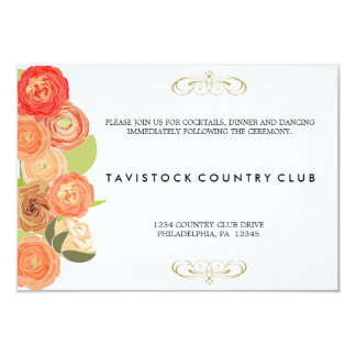 Cascading Flowers Wedding Reception Card