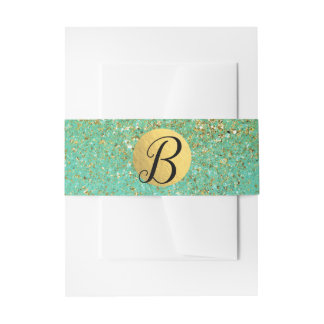 Cascading Gold Glitter & Teal Aqua Glam Party Invitation Belly Band