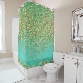 Cascading Gold Glitter Teal Aqua Glam Trendy Girls Shower Curtain