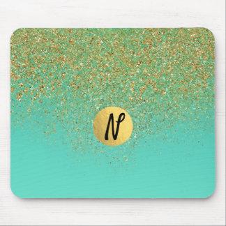 Cascading Gold Glitter & Teal Aqua Glam Trendy Mouse Pad