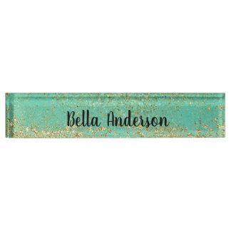Cascading Gold Glitter & Teal Aqua Glam Trendy Nameplate