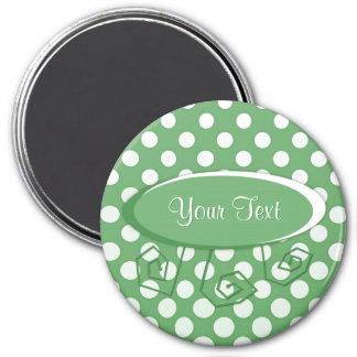 Cascading White circles on lime green 7.5 Cm Round Magnet
