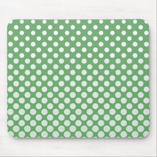 Cascading White circles on lime green Mouse Pad