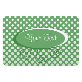 Cascading White circles on lime green Rectangle Magnet