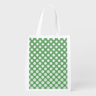 Cascading White circles on lime green Market Totes