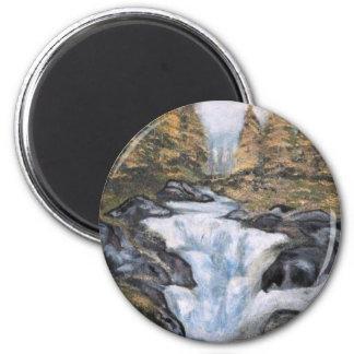 Cascata - óleo  (vendido) 6 cm round magnet