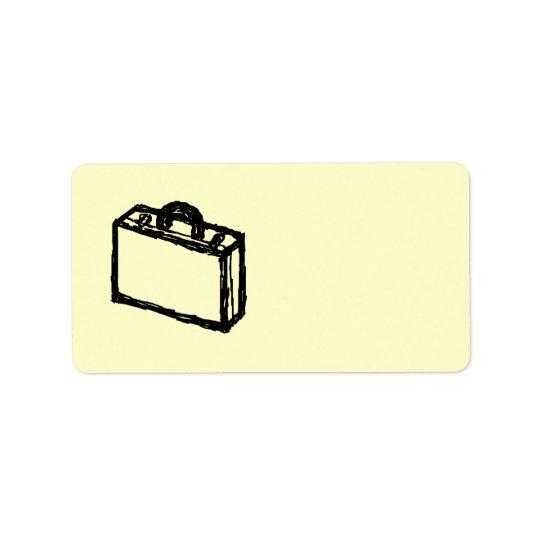 Case Sketch. Black and Cream. Suitcase, Briefcase Label