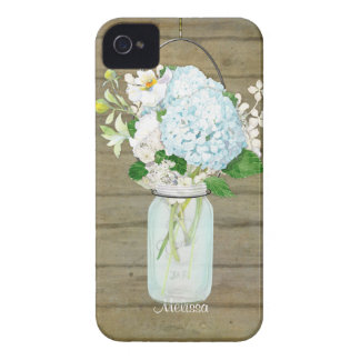 Cases Rustic Country Mason Jar Blue Hydrangeas iPhone 4 Cover