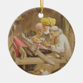 Cashmere Shawls: Weaving, 1863 (chromolitho) Ceramic Ornament