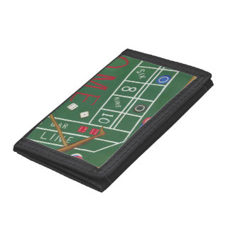 Casino Craps Table with Chips and Dice Tri-fold Wallets