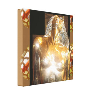 CASINO Deco Las Vegas - Colorful MERMAID GOLD Gallery Wrapped Canvas