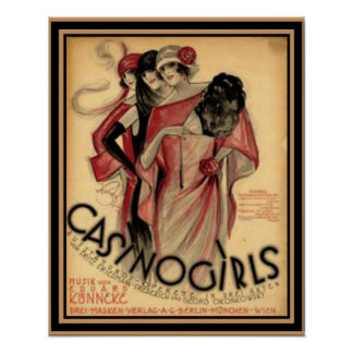 """Casino Girls""  Art  Deco  Poster 16 x 20"