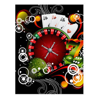 Casino illustration with roulette wheel and dices postcard