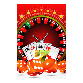 Casino illustration with roulette wheel and dices stationery design