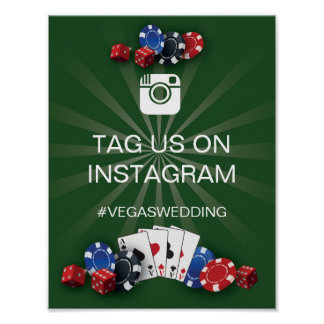 Casino Instagram Sign Vegas Wedding Reception Poster