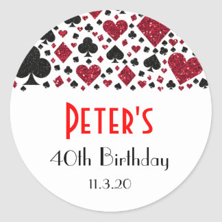 Casino Las Vegas Birthday Party Favor Labels
