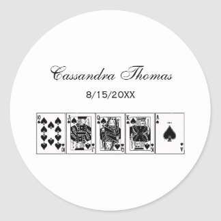 Casino Night Poker Royal Straight Flush Spades Classic Round Sticker