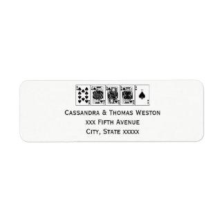 Casino Night Poker Royal Straight Flush Spades Return Address Label