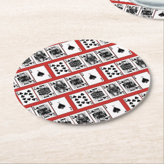 Casino Night Poker Royal Straight Flush Spades Round Paper Coaster