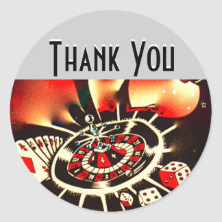 Casino Night Thank You Classic Round Sticker