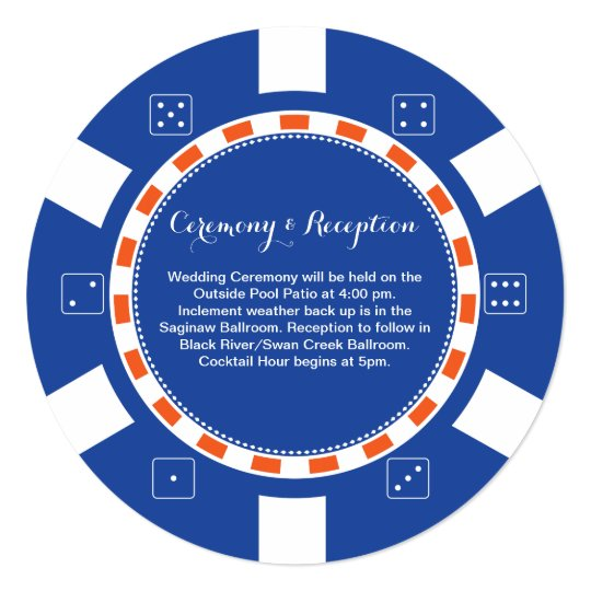 Casino Poker Chip | Wedding Information Card