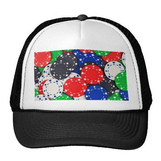 Casino poker chips mesh hats