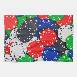 Casino poker chips tea towel