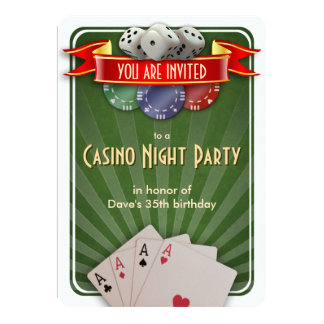 Casino Poker Night Birthday Party Card