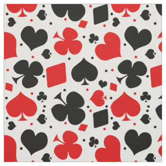 Casino Poker Playing Card Symbols Pattern Fabric
