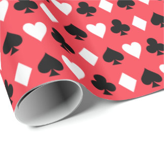 Casino Poker Playing Card Symbols Pattern Wrapping Paper