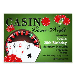 CASINO Poker Vegas Party Birthday Invitations