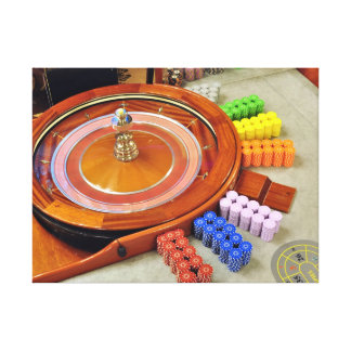 casino roulette spinning rotate gambling stretched canvas prints