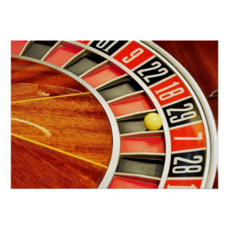 casino roulette wheel ball number 29 gambling poster
