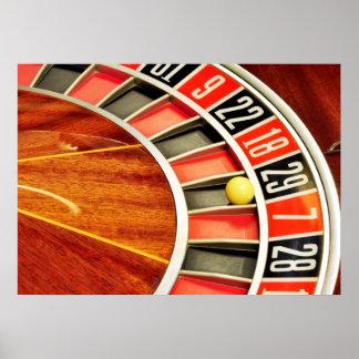 casino roulette wheel ball number 29 gambling poster