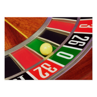 casino roulette wheel ball number zero gambling poster