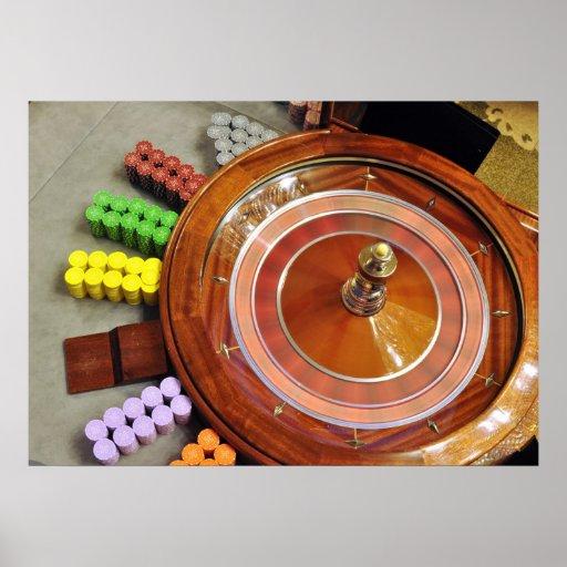 casino roulette wheel spinning rotate gambling poster