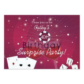 Casino style surprise birthday invitation