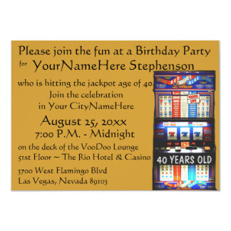Casino Theme Party with personalized slot machine Card