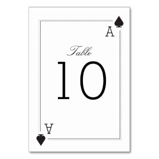 Casino Wedding Table Number Card - Spades