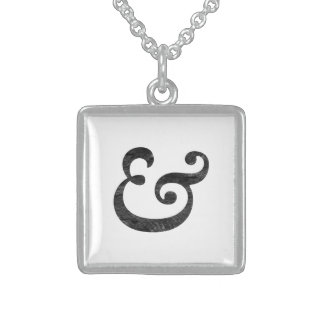 Caslon Bold Italic Ampersand Black Square Pendant Necklace
