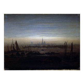 Caspar David Friedrich Greifswald in Moonlight Poster