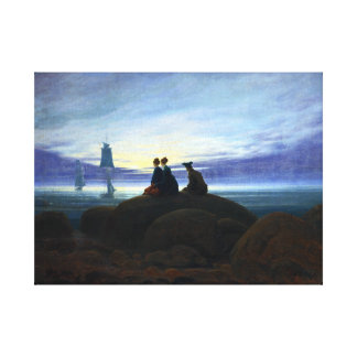 Caspar David Friedrich Moonrise over the Sea Canvas Print