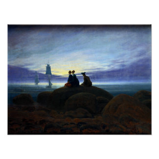 Caspar David Friedrich Moonrise over the Sea Poster